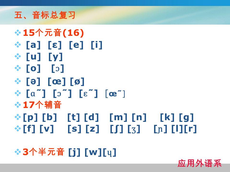 五、音标总复习 15个元音(16) [a] [ε] [e] [i] [u] [y] [o] [ɔ] [ə] [œ] [ø] [ɑ̃ ] [ɔ̃ ] [ɛ̃ ] [œ̃ ]